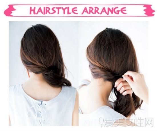 多款扎发教程图解   扎发步骤:   step1:将左侧的头发扭转后别在右侧