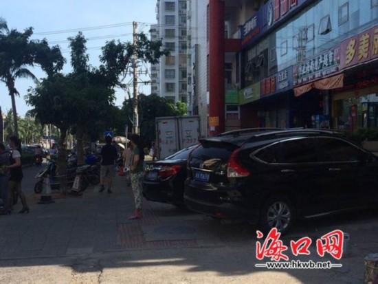 海口:小区人行道成酒店停车场 消防通道被堵