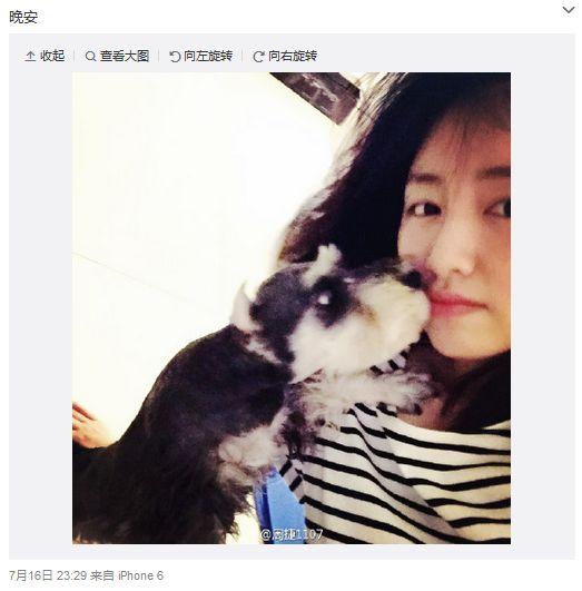 周捷微博晒与爱犬合照网友:邹凯不吃醋吗?(图)