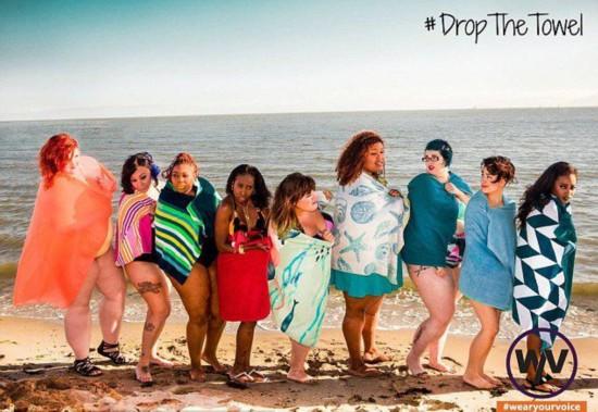 时尚杂志邀不同身材女性沙滩自信晒曲线