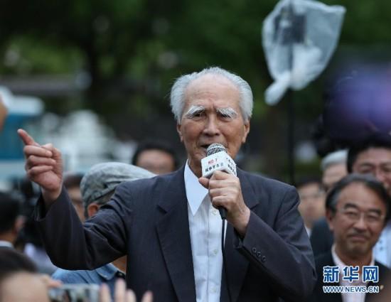 (国际)(1)日本前首相村山富市街头演讲反对安保法案