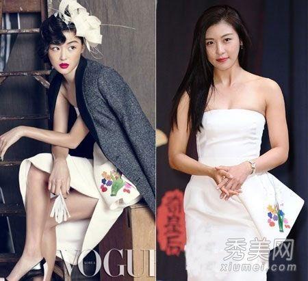 明星撞衫一波接一波     全智贤在为时尚杂志vogue拍摄封面海报时穿过图片