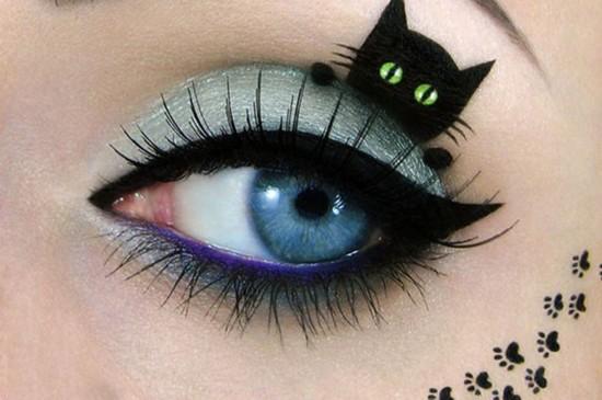以色列艺术家在眼睛上创作超萌猫咪画(组图)