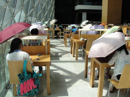 深圳图书馆内太阳暴晒 民众撑伞读书