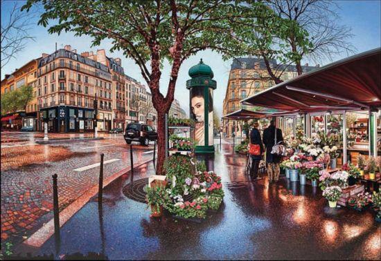 画家手绘世界城市景点 逼真堪比照片