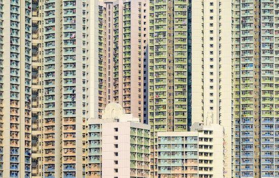 香港居民楼层层叠叠 如抽象艺术画