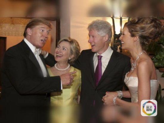 特朗普跟克林顿一家关系倍儿铁,克林顿夫妇参加过他的婚礼