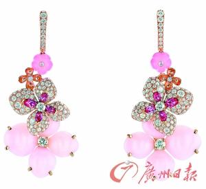 CHAUMET绣球花耳环,镶嵌橄榄形切割粉红色碧玺。