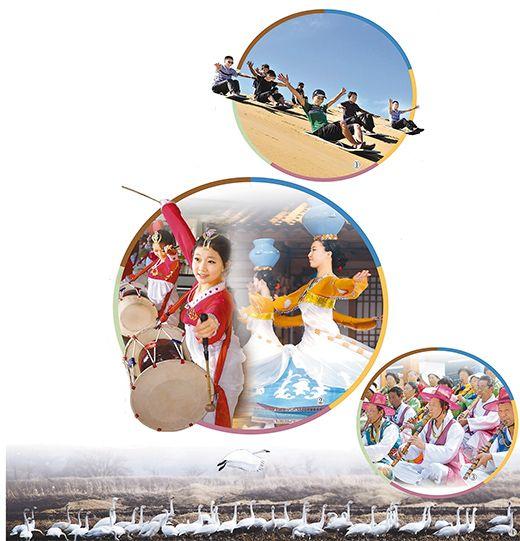 图②:珲春朝鲜族的长鼓舞和顶水舞表演.图③: 密江洞箫演奏者共
