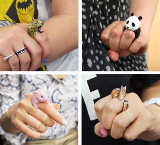 日艺人手工制做栩栩如生传神动物戒指