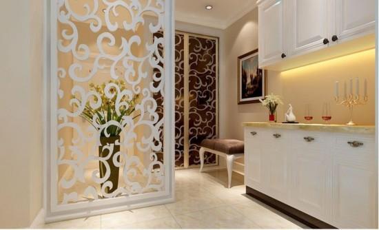 为简约欧式风格,设计以白色简欧为主题加以简单的欧式罗马柱背景墙