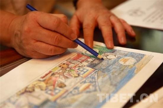 叶星生在画院为邮票设计图着色
