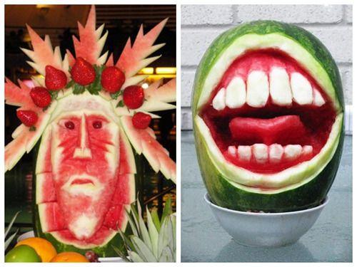日本网友怪招多玩坏西瓜。