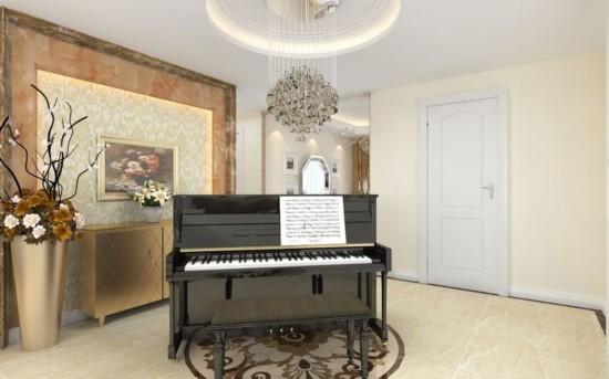 >>>更多装修效果图 卧室 客厅 厨房 玄关 卫生间 门厅考虑进门第一入眼的空间感和气势,并未太多复杂工艺、工序。大大的圆形垂灯、搭配简约钢琴,一种休闲舒适感油然而生。客户要简洁,要欧式、要实用。用线条表示简洁,用花形示欧式,用格局使得空间更实用!