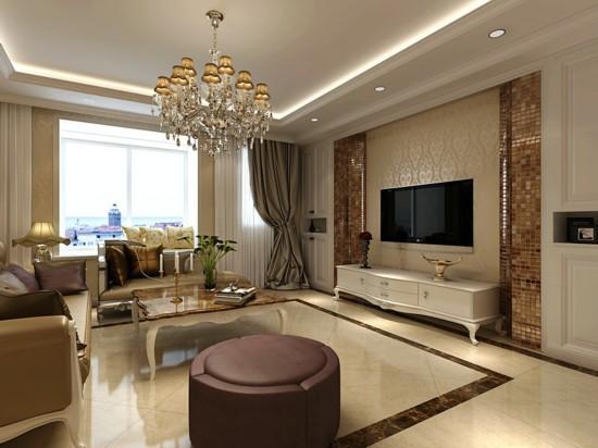 客厅空间,独立的吧台效果体现主人对欧式风格钟爱