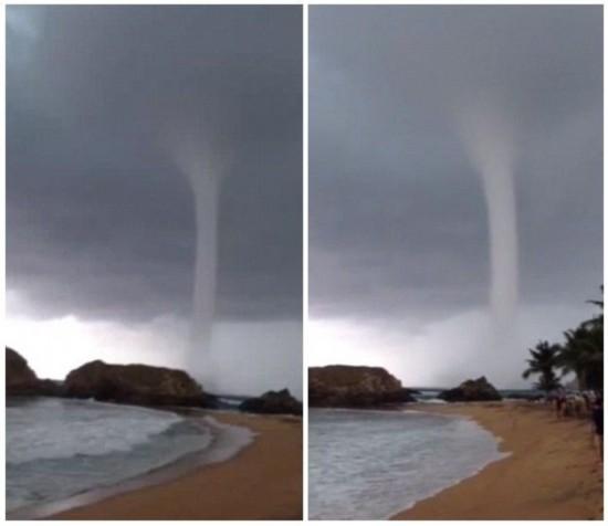 """墨西哥海滩惊现""""龙吸水""""场面壮观震憾"""