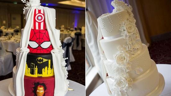 创意双面婚礼蛋糕:一面高大上一面漫画迷(图)