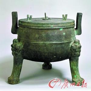 东京博物馆展出的战国青铜鼎,安徽寿县朱家集出土。