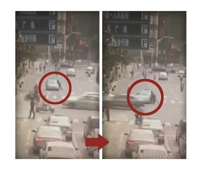 常州:出租车上演惊魂闹市逆行 车门外还挂个人