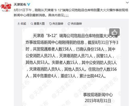 天津爆炸事故已造成158人遇难仍有15人失联