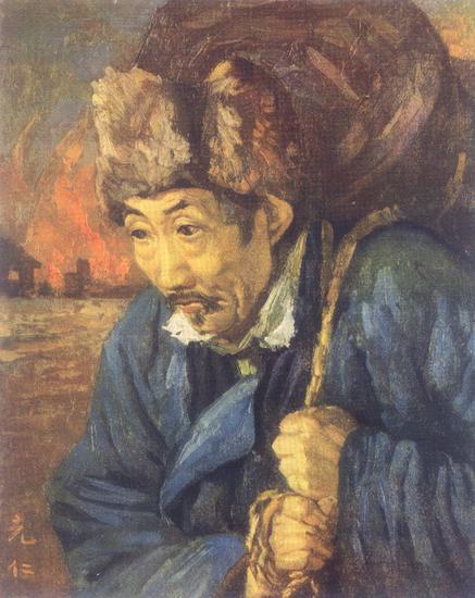 张充仁油画作品《遗民》(1937)