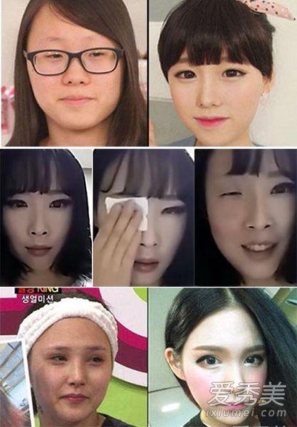 韓國某電視台邀請了網絡美女現場卸妝,不得不說韓國妹子們的化妝技術就是好,化妝后個個都是萌妹子,可是一卸妝居然變大嬸。