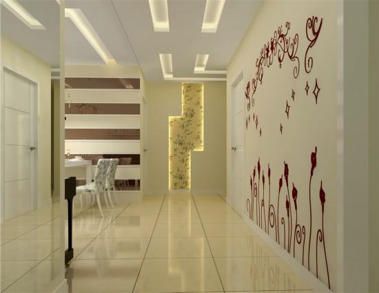 将餐厅 客厅及过道做局部吊顶在空间上做了局部划分 茶色烤漆玻璃作为
