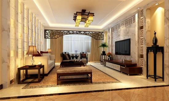 首开国风美唐-三居室-90.00平米-客厅装修效果图