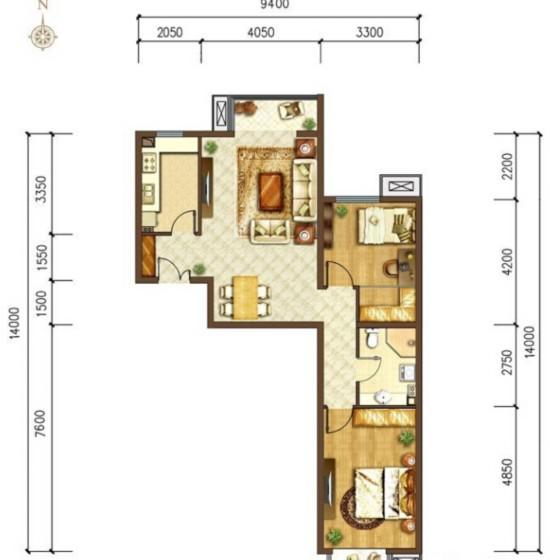 首开国风美唐-三居室-90.00平米-户型图装修效果图
