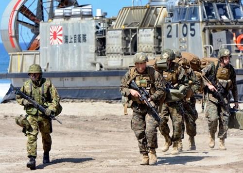 日美举行海岸登陆联合训练数千名士兵参加(图)