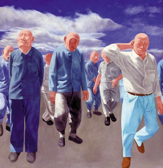 尤伦斯夫妇旧藏,方力钧1992年油画作品《系列二