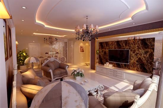 大运河孔雀城英国宫二期-三居室-140.00平米-客厅装修效果图