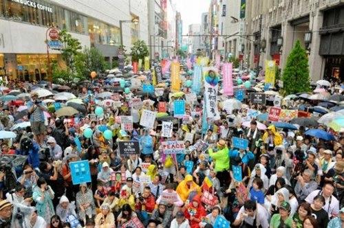 资料图:日本民众集会抗议安保法。