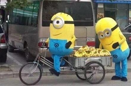 小黃人賣香蕉被趕 對城管賣萌撒嬌坐地上耍賴