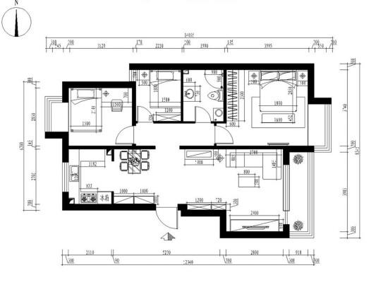 中国铁建广场-三居室-85.00平米-装修设计