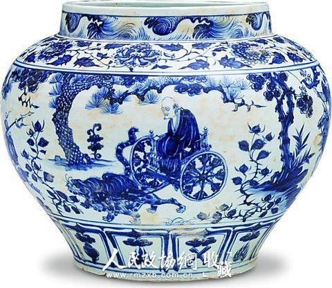 元青花鬼谷子下山大罐,2005年拍卖成交价折合人民币约2.3亿元。