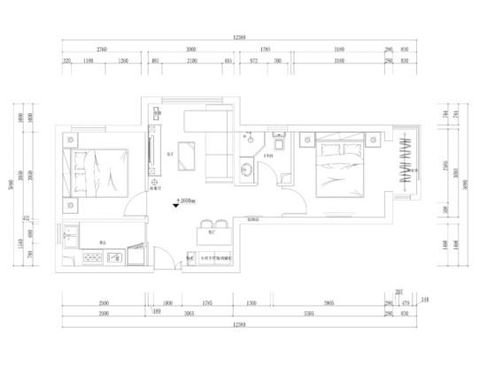 北京城建・福润四季-二居室-90.00平米-装修设计