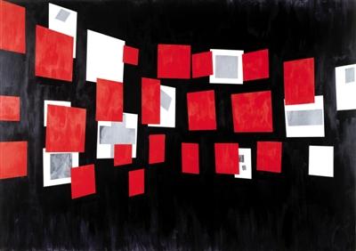 """1984年作品《滑动》中刁德谦挪用、重构了记录现代主义运动最重要时刻之一的图像――马列维奇1915年""""最后一个未来主义绘画展览0.10""""的现场照片。"""