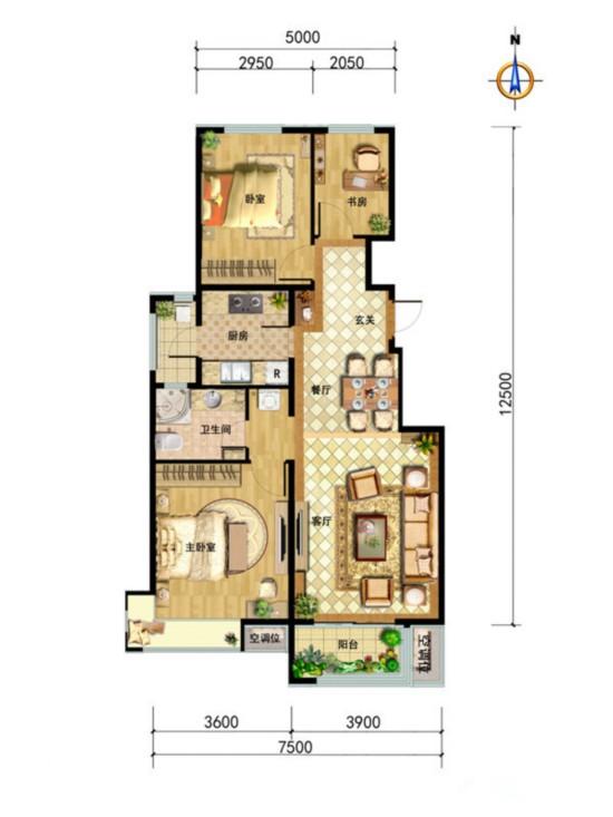 中国铁建・北京山语城-三居室-97.00平米-装修设计