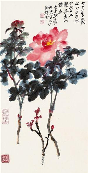 中国嘉德(香港)秋拍近现代书画专场推出的张大千作品《牡丹》。(嘉德供图)