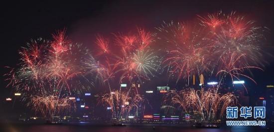 (社会)香港举行国庆烟花汇演