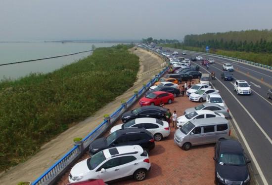 合肥国庆长假第三天 滨湖湿地森林公园停车难