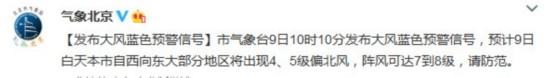 北京发布大风蓝色预警部分地区阵风可达8级