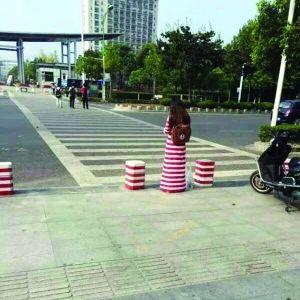南京高校女生与隔离墩撞衫 网友:毫无违和感(图)
