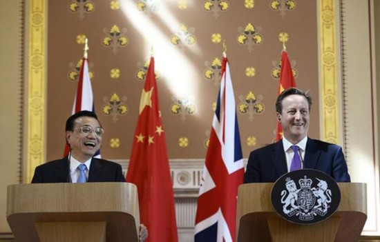 2014年6月17日,中国总理李克强在伦敦同英国首相卡梅伦举行会谈后图片