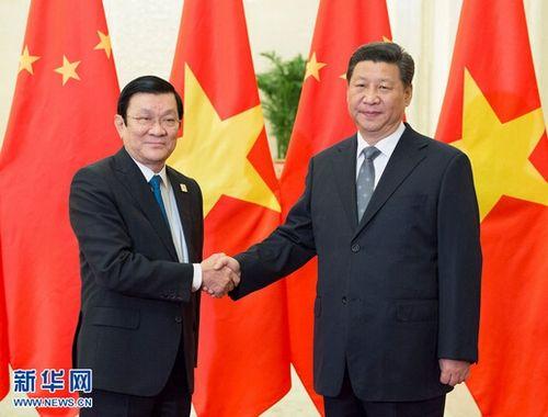 中国国家主席习近平2014年11月10日在人民大会堂会见越南国家主席图片