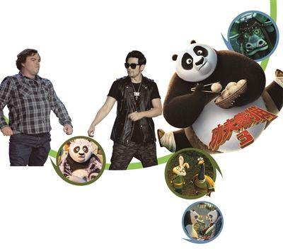 """即将于2016年1月29日上映的经典系列动画电影《功夫熊猫3》昨日在上海举办了音乐主题发布会,梦工场动画ceo杰弗瑞·卡森伯格现场宣布""""华语乐坛巨星""""周杰伦继配音片中金猴角色后,将携16岁爱徒派伟俊为《功夫熊猫3》创作并演唱主题曲."""