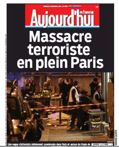 """法国的《解放日报》则表示恐怖主义分子的野蛮主义已经跨越了""""历史线"""",呼吁全法国保持刚毅的意志。该报发表为署名为Laurent"""