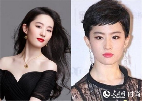 刘亦菲 妩媚长发VS假小子短发