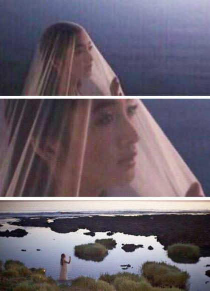 林依晨的婚纱照选在垦丁取景拍摄,画面不见新郎,而是她独自站